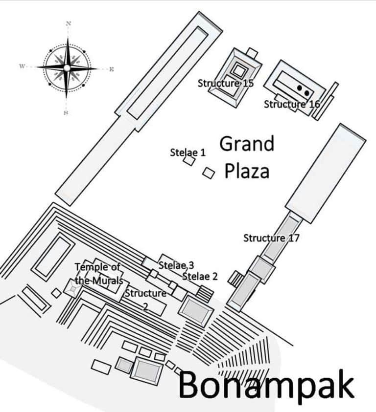 Plan de la zone Archéologique Bonampak