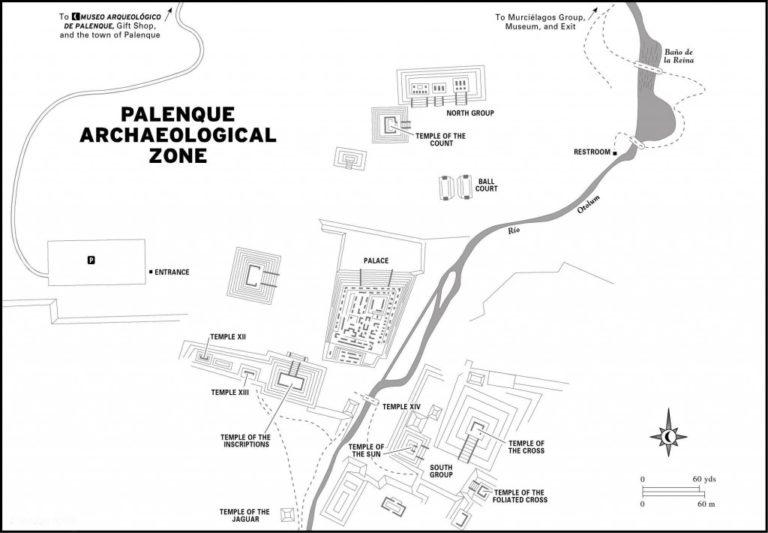 Plan de la zone Archéologique Palenque