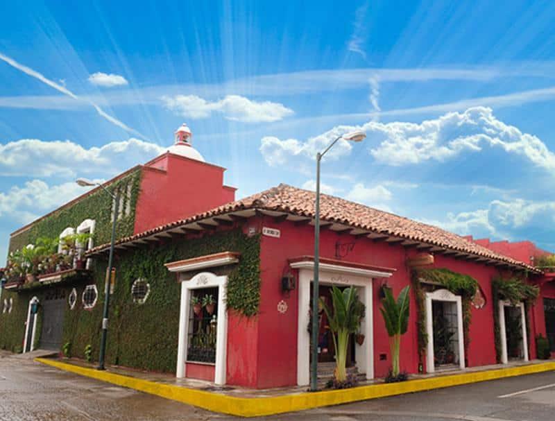 Vue de l'entrée de l'Hotel Casona Maya Mexicana à Tapachula