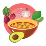 Pozole du Mexique icone flat design