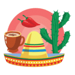 Produits mexicains Flat Design